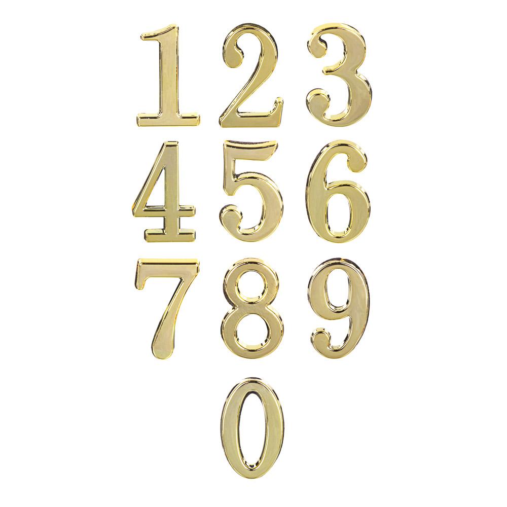 Номер дверной 0,45x28мм, цвет золото, от 0 до 9, пластик