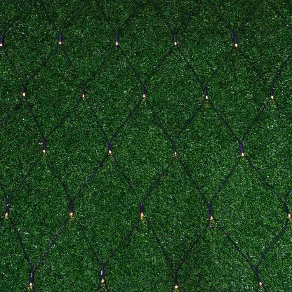INBLOOM Гирлянда эл., сеть на солн. батарее 96LED,1,5х1,5м,шампань,2 реж, ПВХ зел,2V120Ma, 1.2V800mA