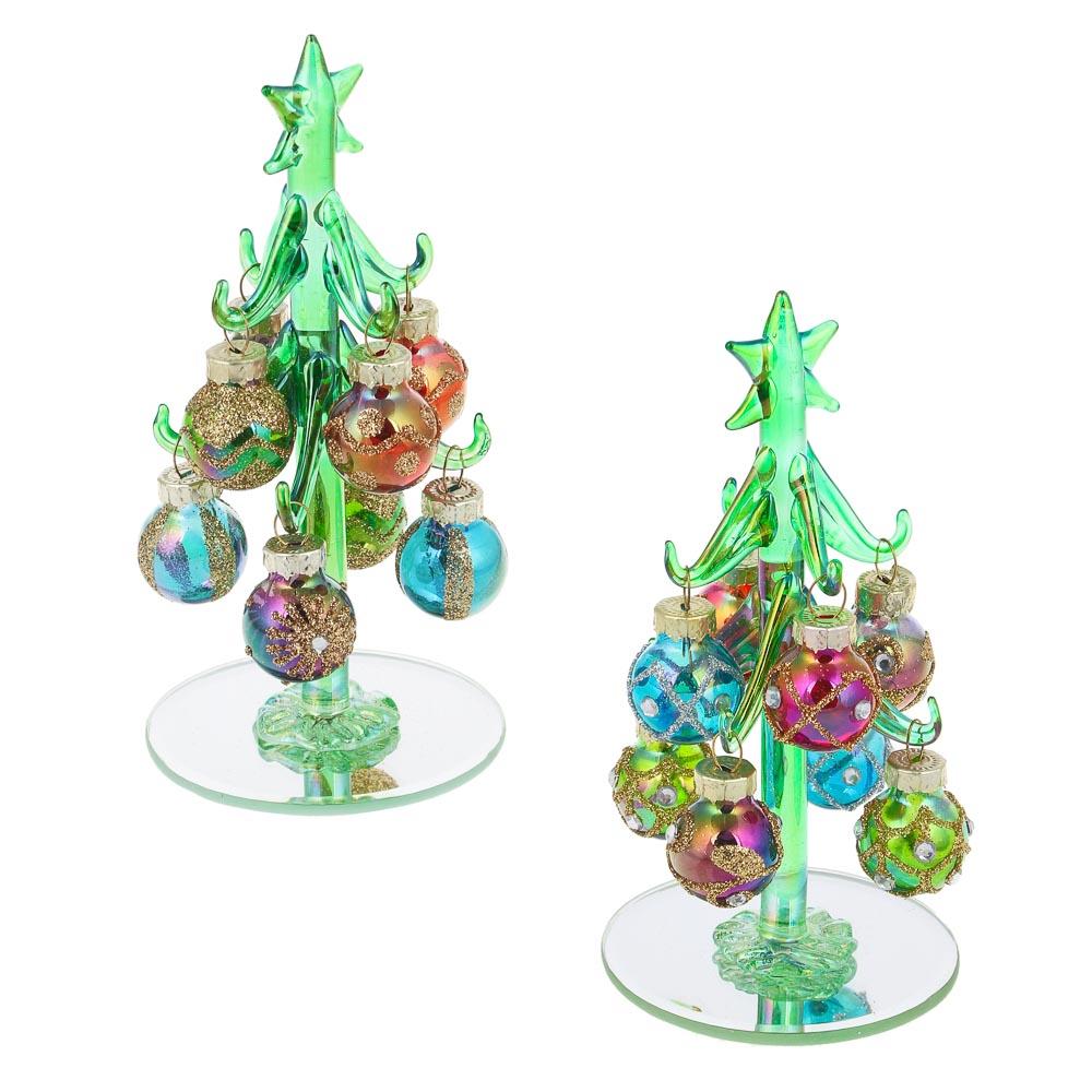 СНОУ БУМ Елка сувенирная, перламутровое стекло, 13см, 8 подвесок-шаров, 2 дизайна