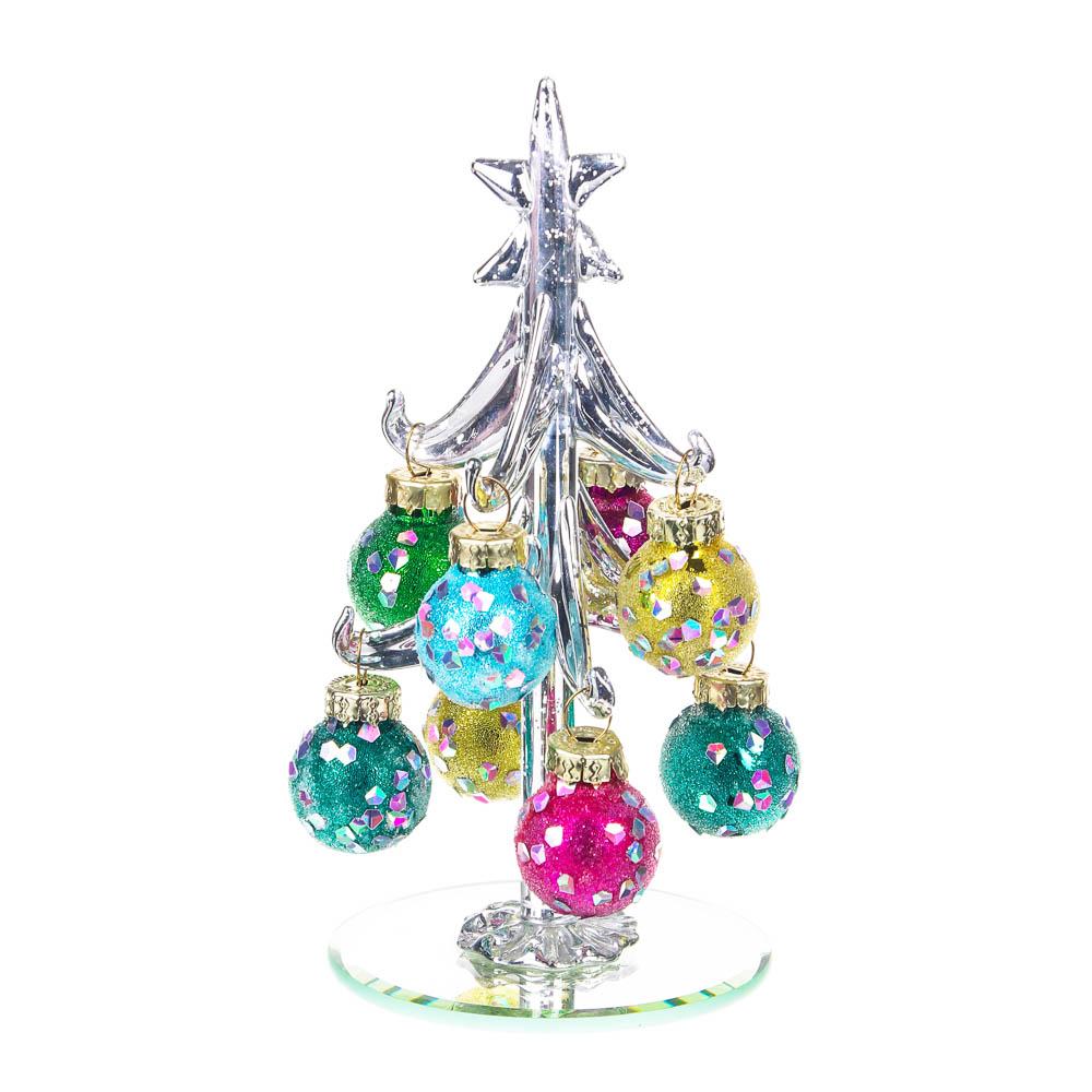 СНОУ БУМ Елка сувенирная со стразами, глиттер, стекло, 13см, 8 подвесок-шаров