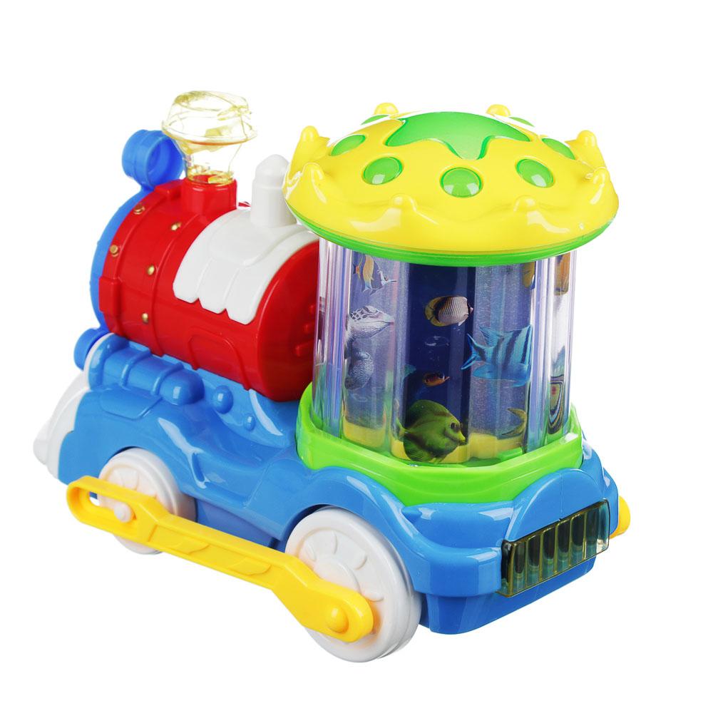 Игрушка в виде паровоза с проектором, свет, звук, движение, 3АА, пластик, 20х12х16см, 2 дизайна