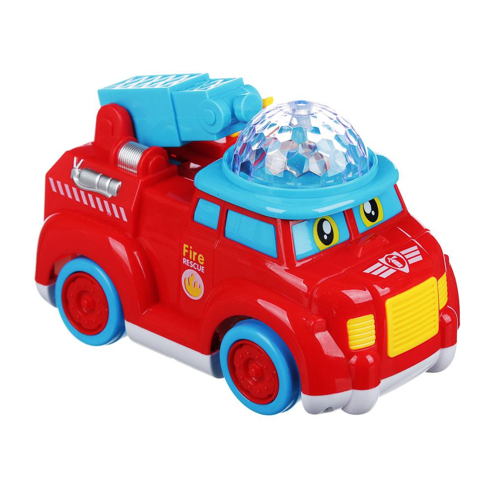 ИГРОЛЕНД Автомобиль пожарный музыкальный с проектором, свет, звук, движение, 3АА, ABS, 16х9х12см