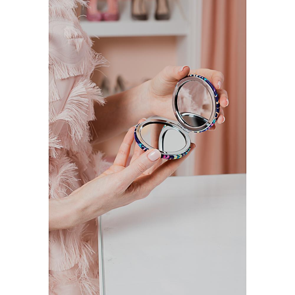 SAF Зеркало карманное, ПУ, сплав, стекло, d=7см, КК-04