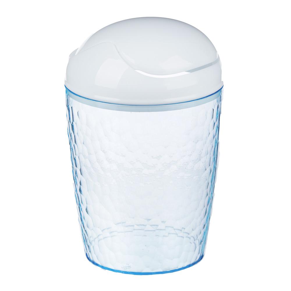 Контейнер настольный Natural stone, 17х11см, пластик, голубой прозрачный