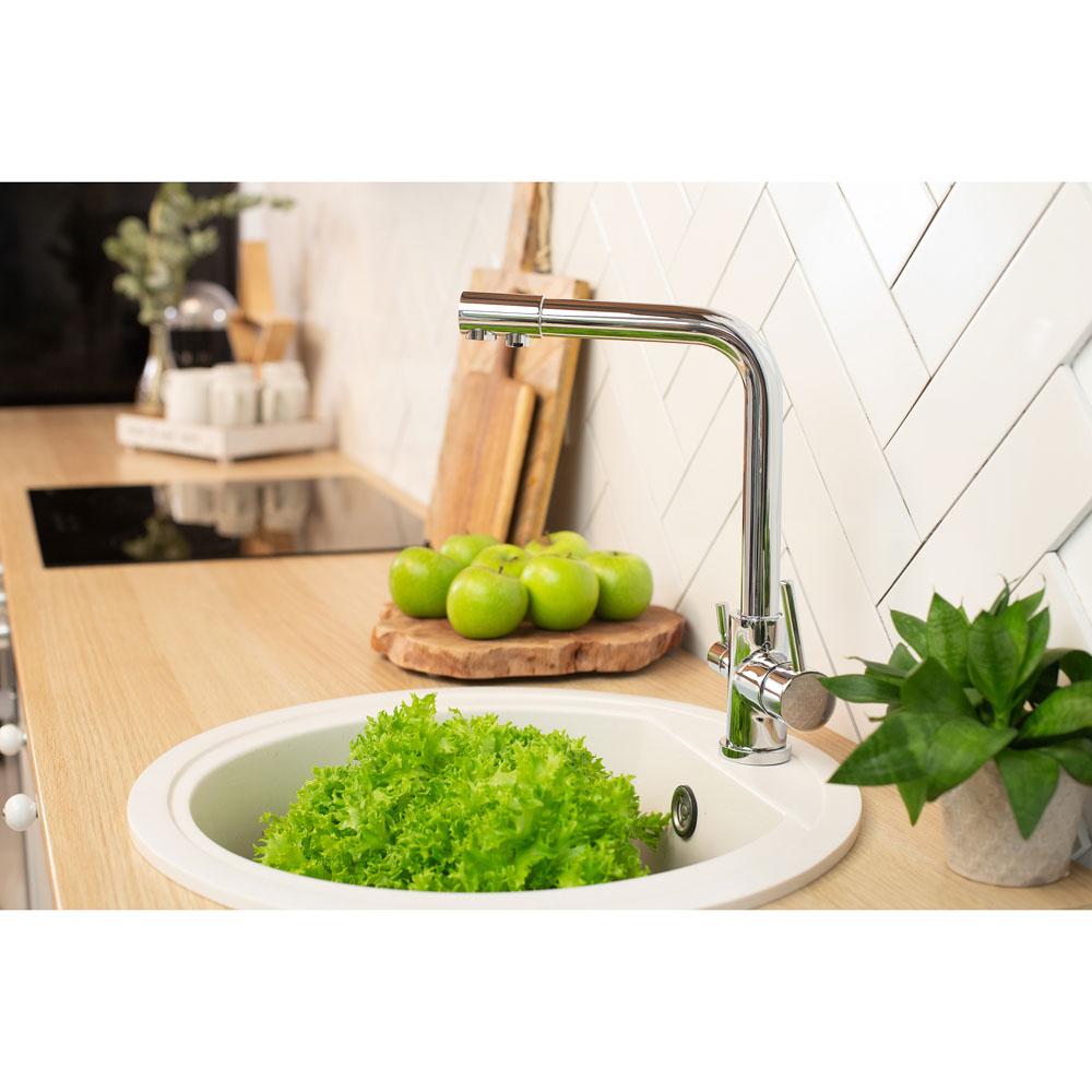 RAIN Смеситель для кухни Аметист с пит. фильт., высокий, карт. 35мм, гайка, латунь, хром