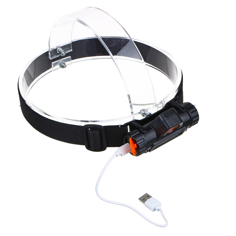 ЧИНГИСХАН Фонарик налобный, 1000мАч, 1 COB, 1 LED, 8х3 см, 2 режима, пластик