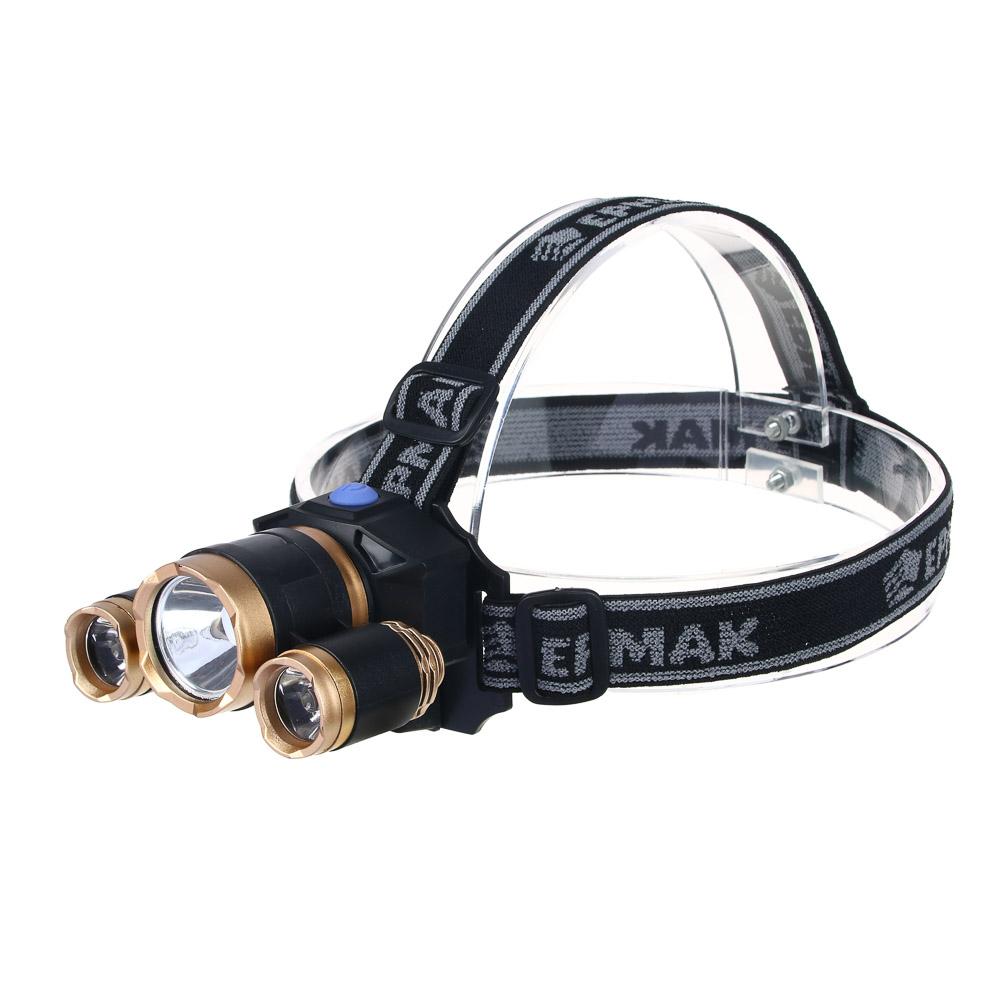 ЧИНГИСХАН Фонарик налобный, 1000 мАч, 3 LED, 7х6 см, 3 режима, пластик