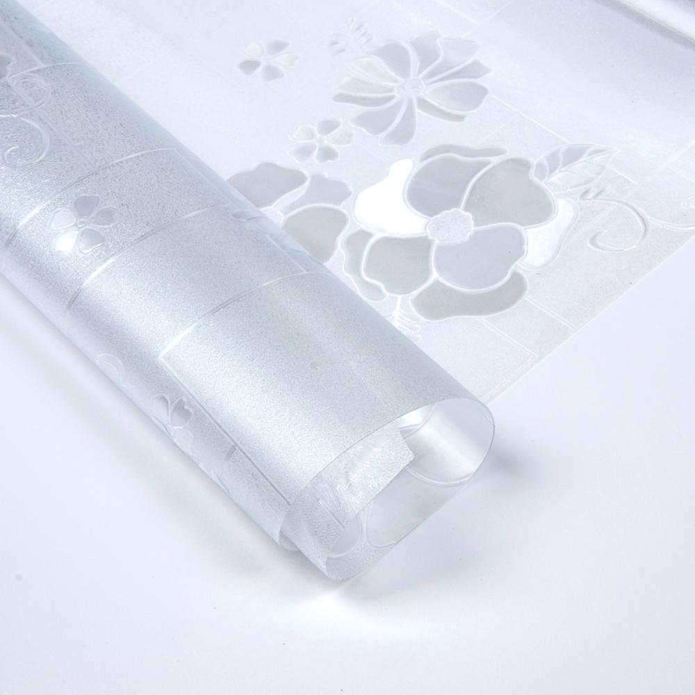 """Клеенка прозрачная ПВХ """"Гибкое стекло"""" Цветы, 0,8мх25мх0,5мм"""