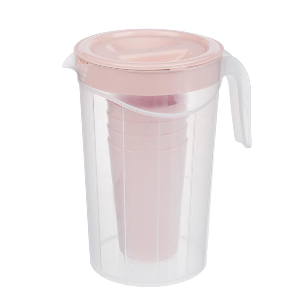 Набор посуды, 6 пр.: кувшин 2л, стаканы 4шт 0,33л, пластик, 2 цвета