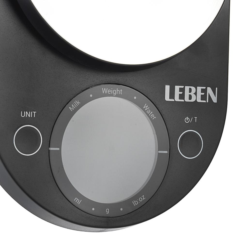 LEBEN Весы кухонные электронные, металл., пластик, макс.нагрузка до 5кг, (точн. измер 1 гр.), 2 цвет