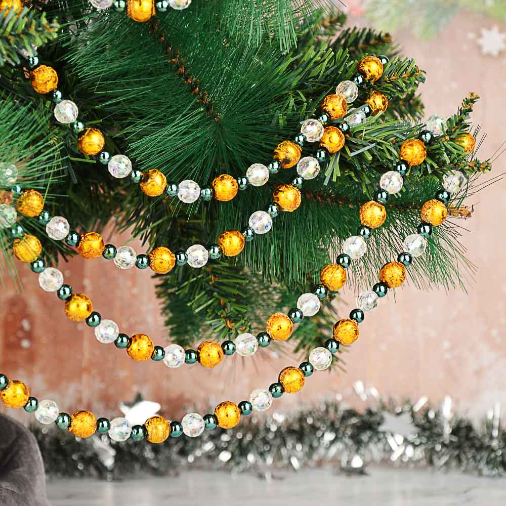 СНОУ БУМ Бусы декоративные, 200 см, пластик, 5 цветов, арт. 2021-1