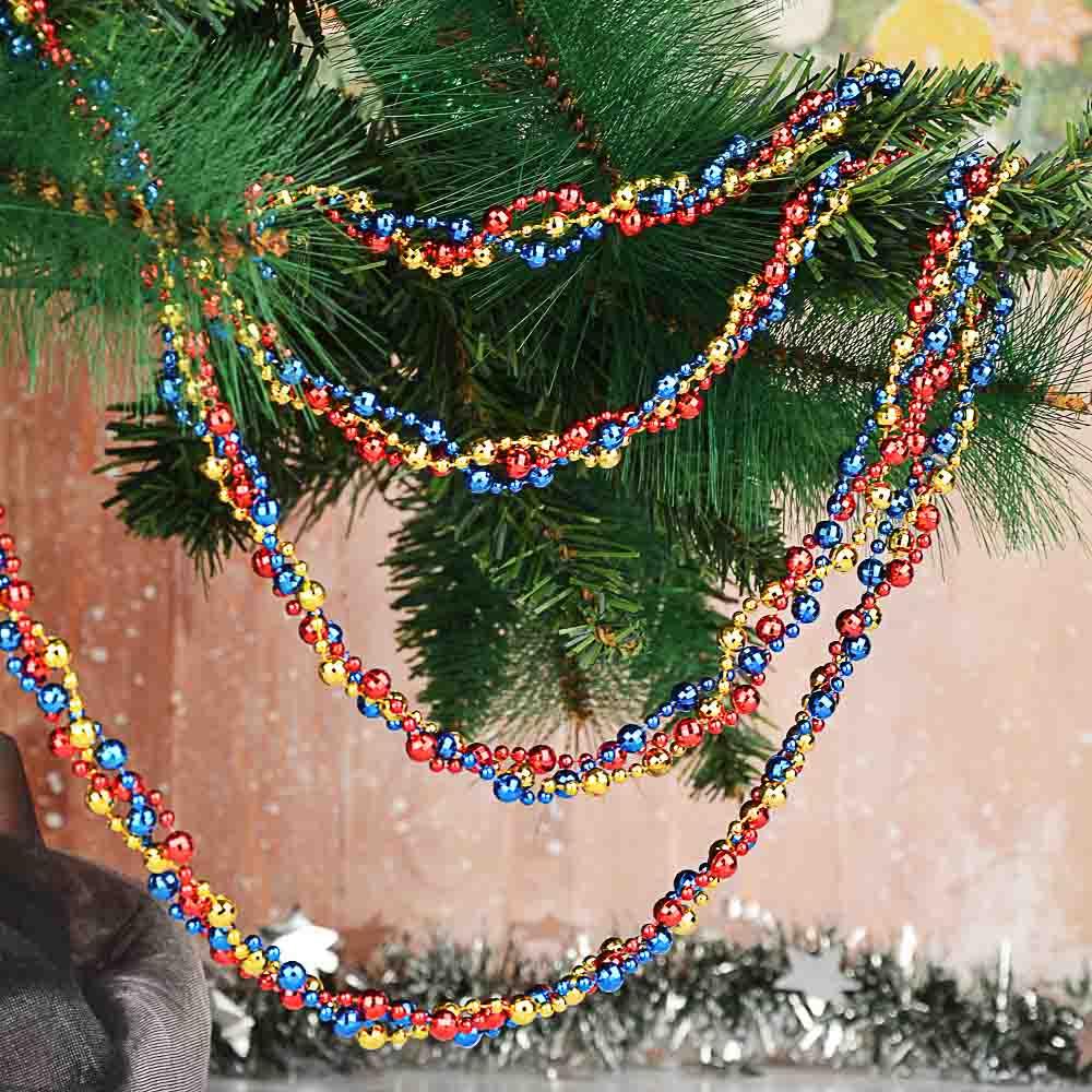 СНОУ БУМ Бусы декоративные, 200 см, пластик, 6 цветов, арт. 2021-2
