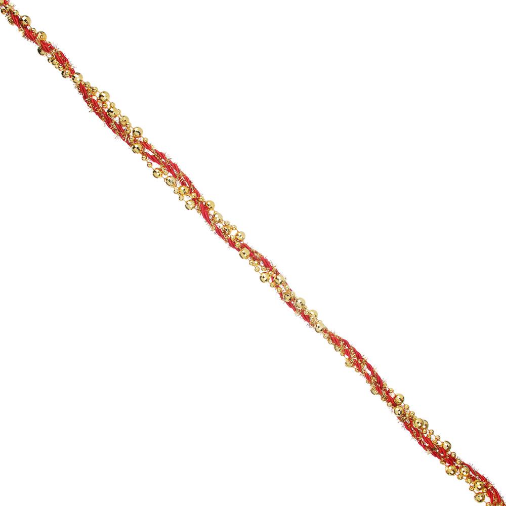 СНОУ БУМ Бусы декоративные, 200 см, с текстильной лентой, пластик, 6 цветов, арт. 2021-3