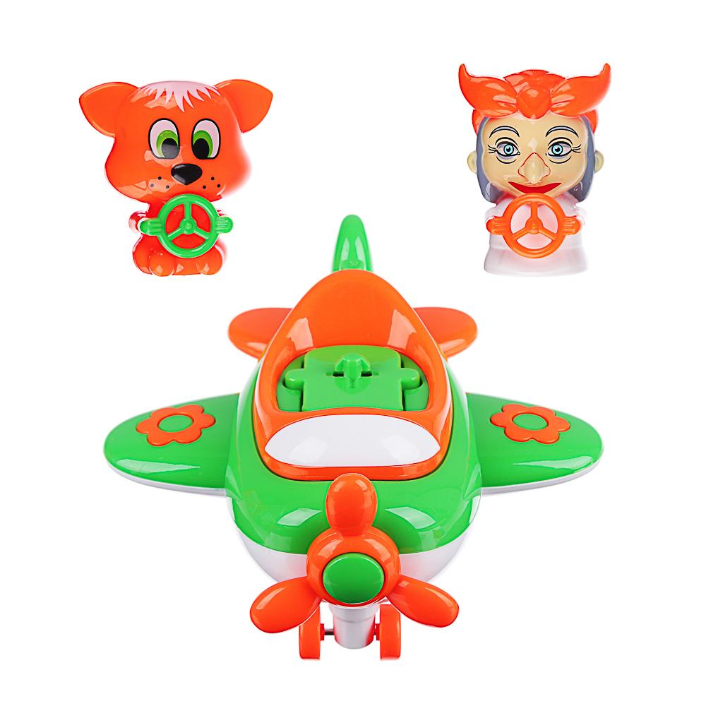 ИГРОЛЕНД Игрушка музыкальная в виде самолета, 2 персонажа, свет,звук,инерция, ABS, 21,5х16х7,5см