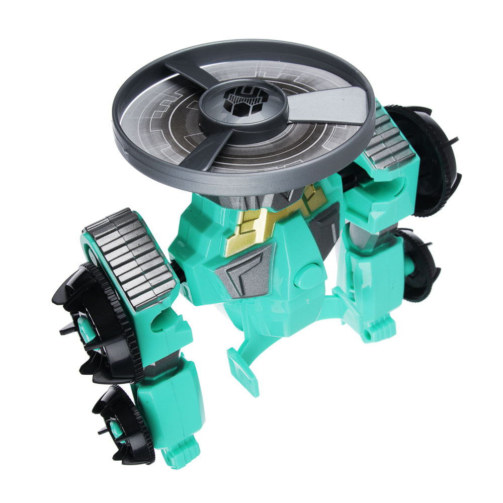 """ИГРОЛЕНД Игрушка """"запускалка"""" в виде трансформирующ. робота,волчок, диск, свет, ABS, 21,6х30х5см"""