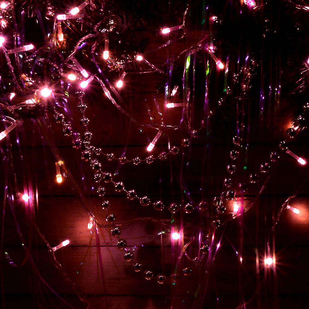 СНОУ БУМ Гирлянда электрическая вьюн 9м, 100 LED-милк, коралл, 8 реж., прозр. провод, 220В