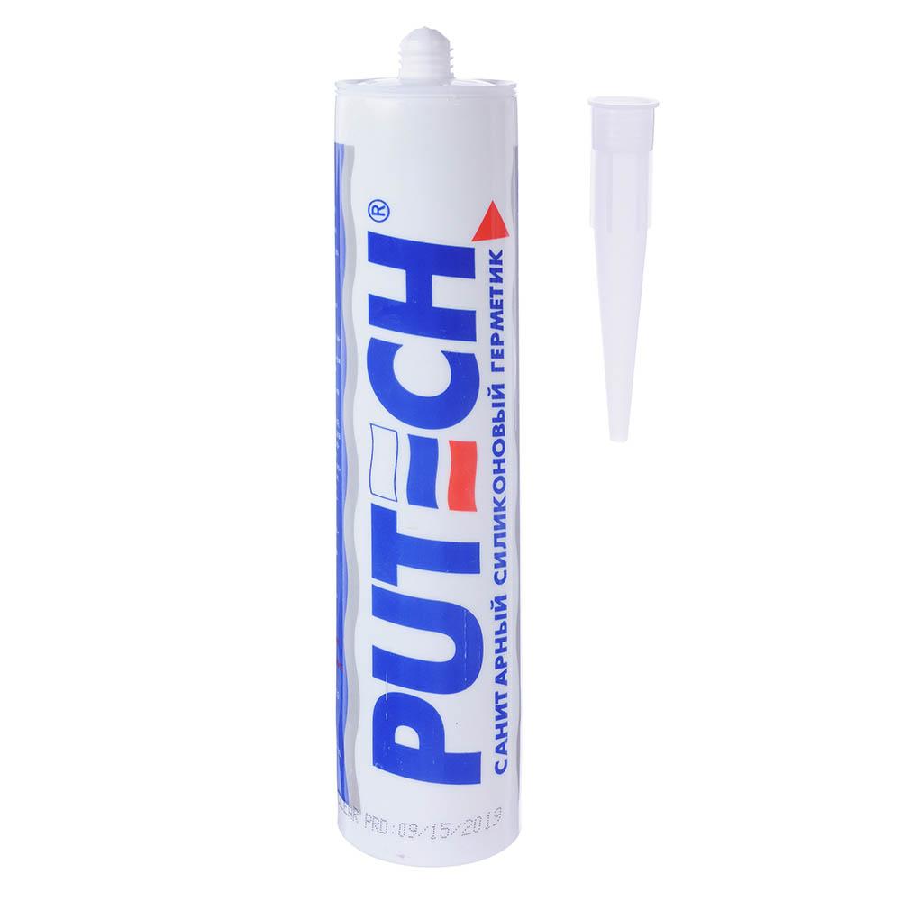 Герметик силиконовый PUTECH, санитарный, 280мл, прозрачный