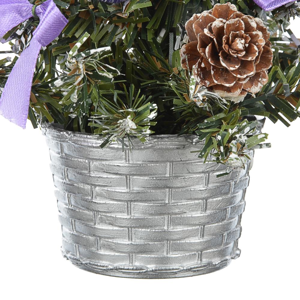 СНОУ БУМ Елка декоративная, пластик, полиэстер, 20см, 7 цветов
