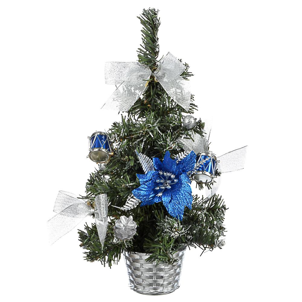 СНОУ БУМ Елка декоративная, пластик, полиэстер, 30см, 5 цветов