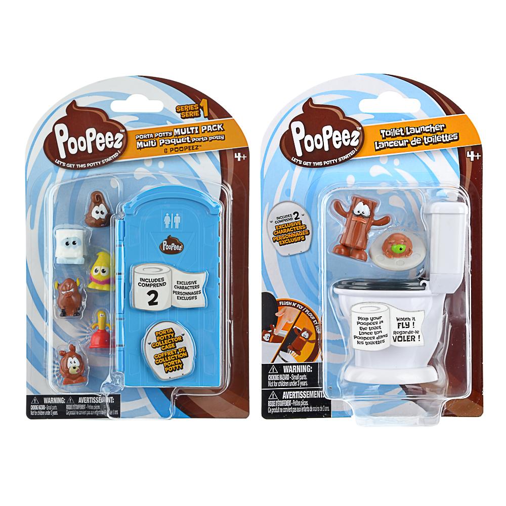 POOPEEZ Набор фигурок с унитазом, пластик, 13x20x5см, 2 дизайна