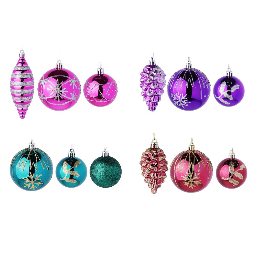 СНОУ БУМ Набор украшений 3шт, пластик, 4 цвета (лиловый, фиолетовый, марсала, морская волна)
