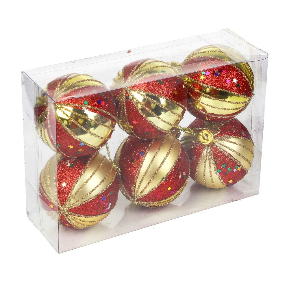 СНОУ БУМ Набор шаров 6шт, 6см, пластик, в коробке ПВХ, золото, 2 дизайна