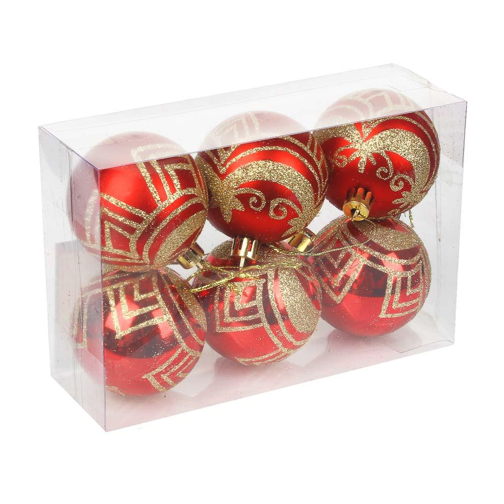 СНОУ БУМ Набор шаров 6шт, 6см, пластик, в коробке ПВХ, красный, 2 дизайна