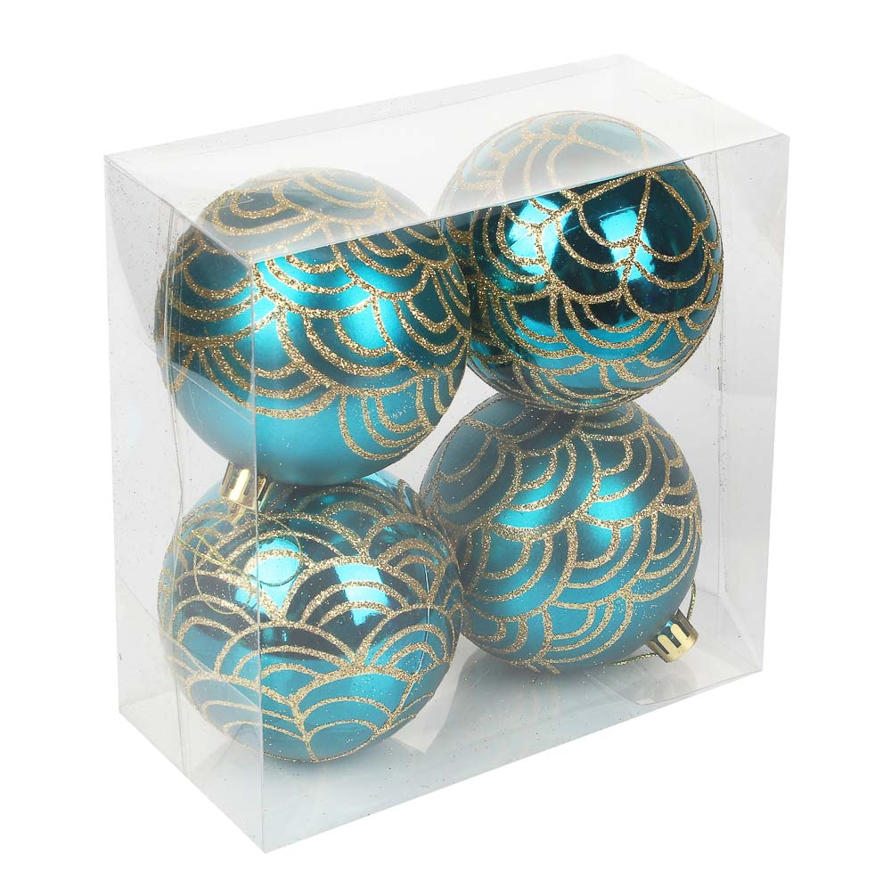 СНОУ БУМ Набор шаров 4шт, 8см, пластик, в коробке ПВХ, 2 цвета, марсала, морская волна