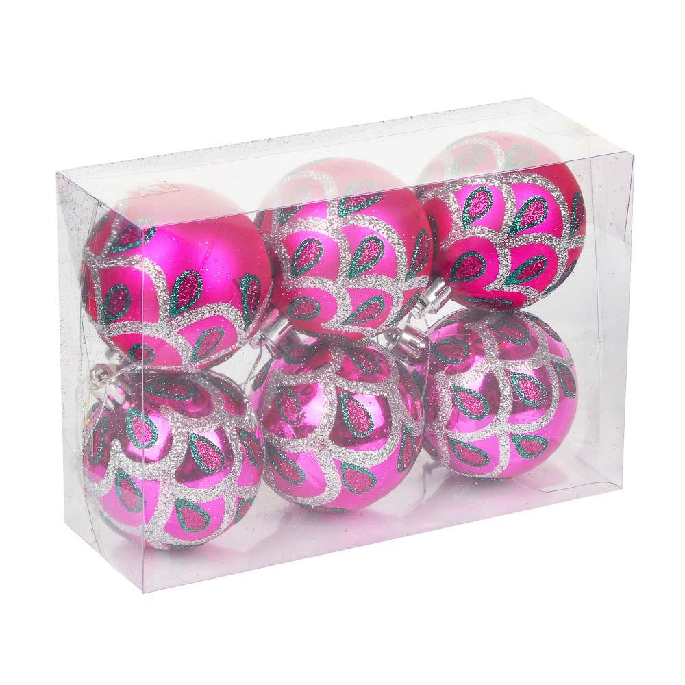 СНОУ БУМ Набор шаров 6шт, 6см, пластик, в коробке ПВХ, 2 цвета