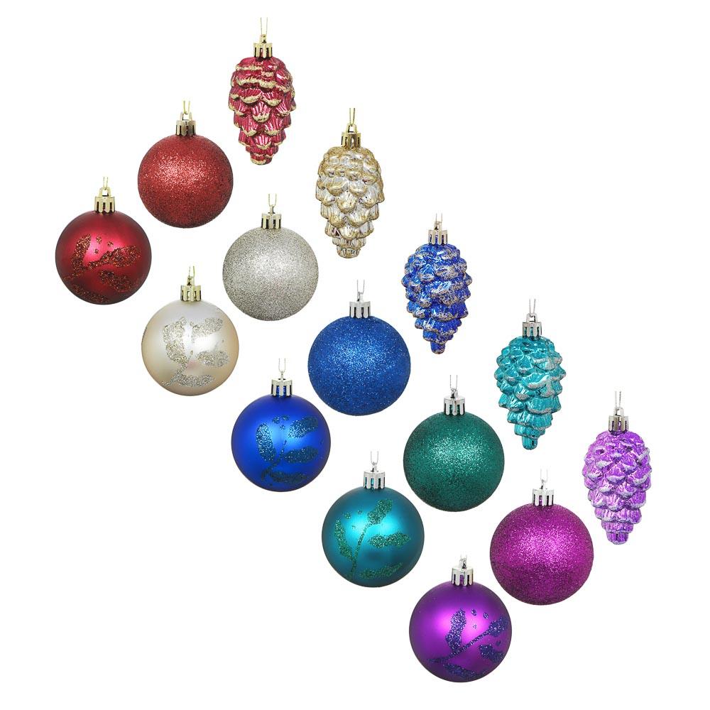 СНОУ БУМ Набор шаров и шишек, 6шт, 6см, пластик, в тубе, ассортимент цветов