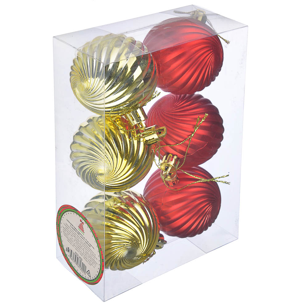 СНОУ БУМ Набор шаров 6 шт, 6 см, пластик, в коробке ПВХ, золото, красный