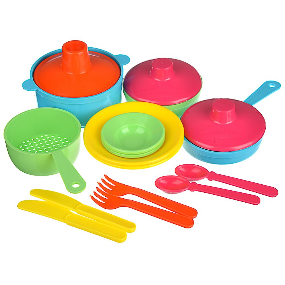 ИГРОЛЕНД Набор посуды в сетке, 6-18 пр., пластик, 25х12х10см, 5 дизайнов