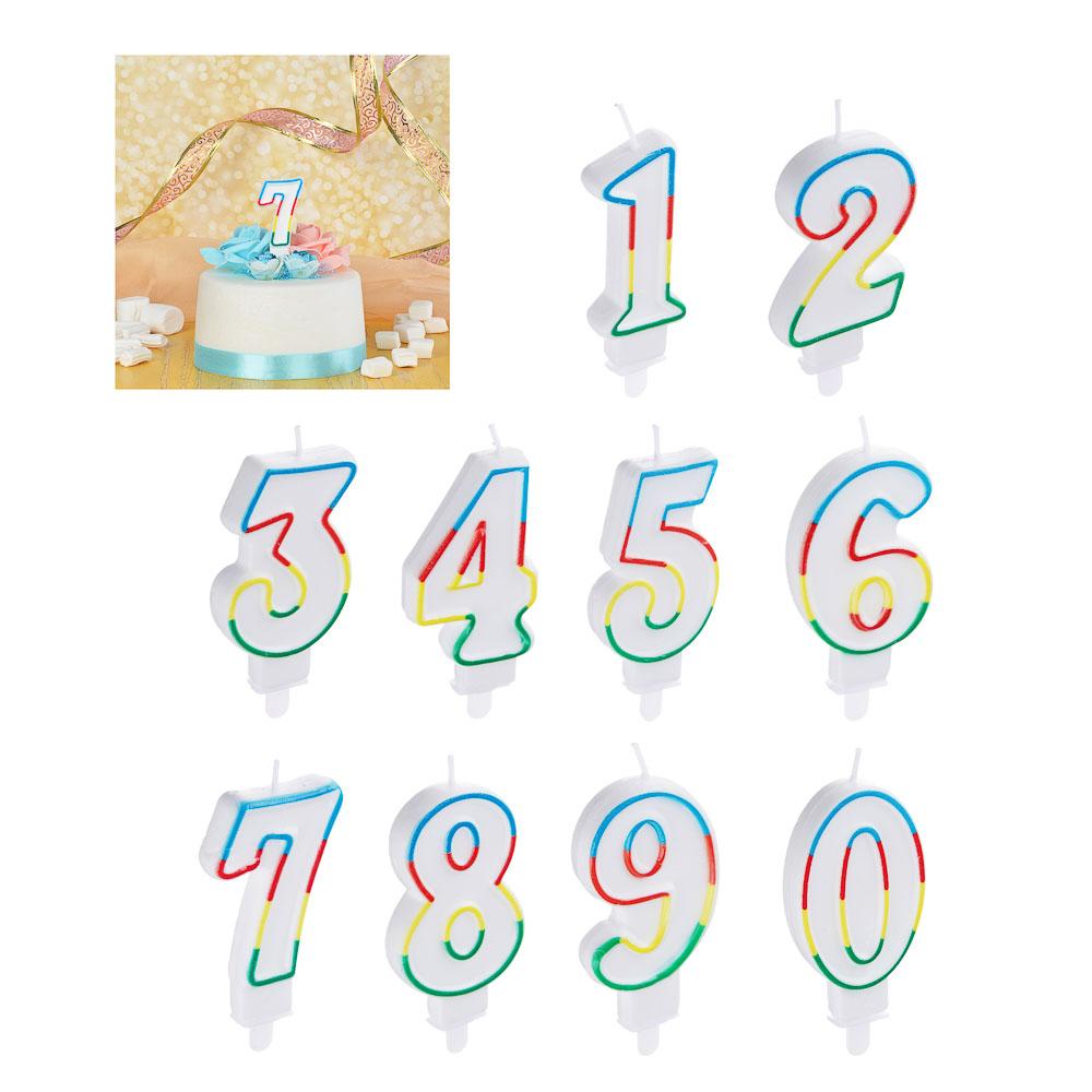 Капитан Весельчак Свеча для торта в форме цифр, парафин (0-9)