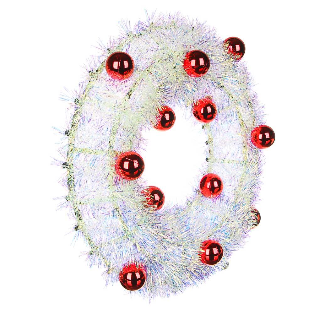 СНОУ БУМ Венок декоративный, 38см, белый перламутр, с красными шарами