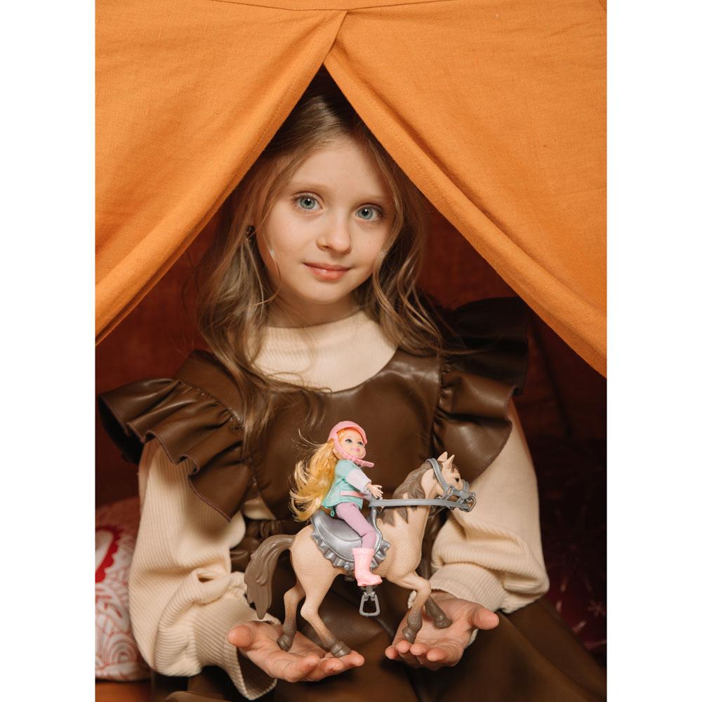 ИГРОЛЕНД Кукла шарнирная в виде наездницы с лошадкой, ПВХ, РР, 23,3x10x23,5см