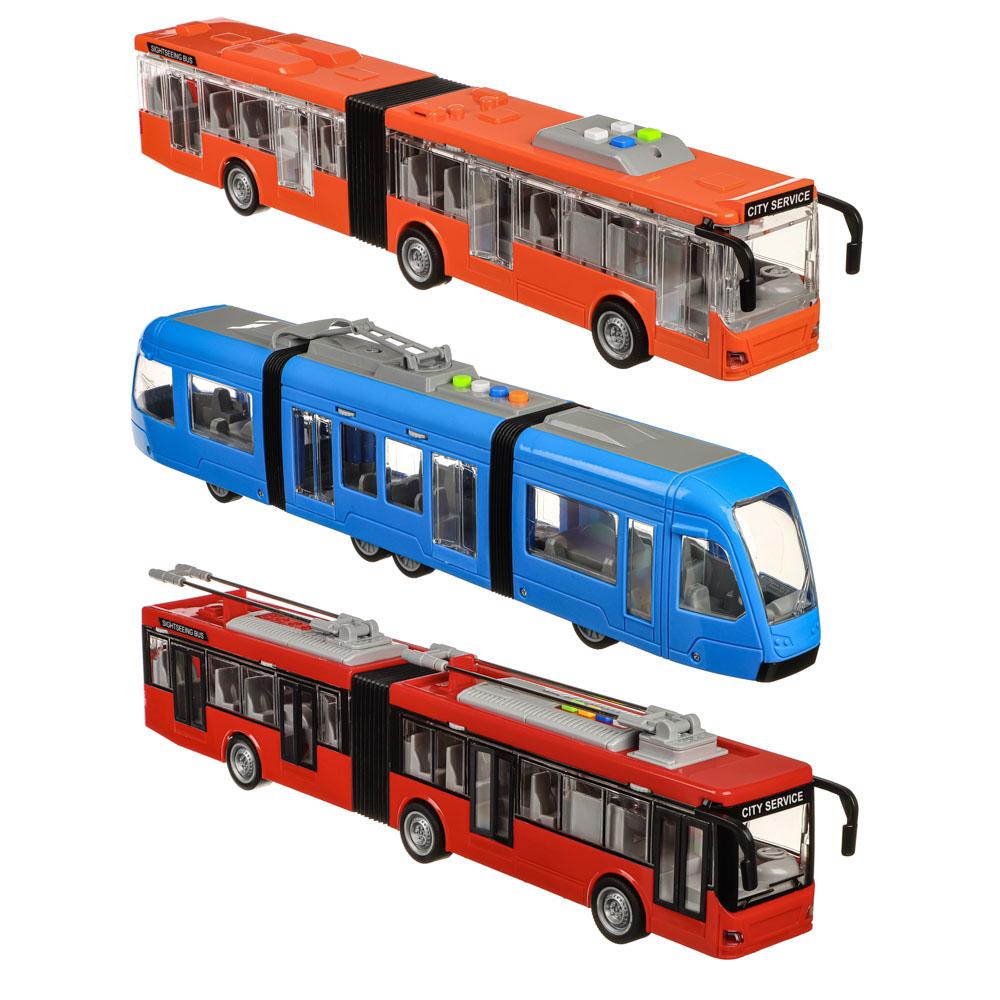 ИГРОЛЕНД Городской транспорт, ABS, 3хLR44, свет, звук, инерция, двери откр, 48х16,5х11,5см, 3 диз