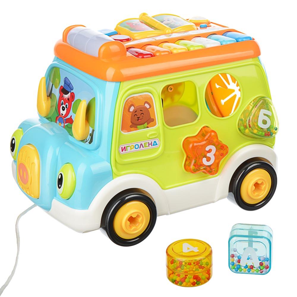 ИГРОЛЕНД Автобус-сортер, ABS, свет, звук, 34,7х22,8х23,3см