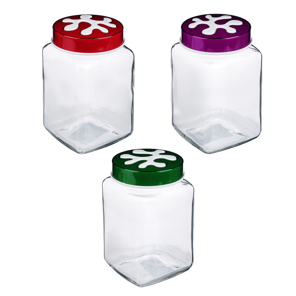 HEREVIN Пазл Банка для сыпучих продуктов, стекло, 1л, 3 цвета, 137011-804