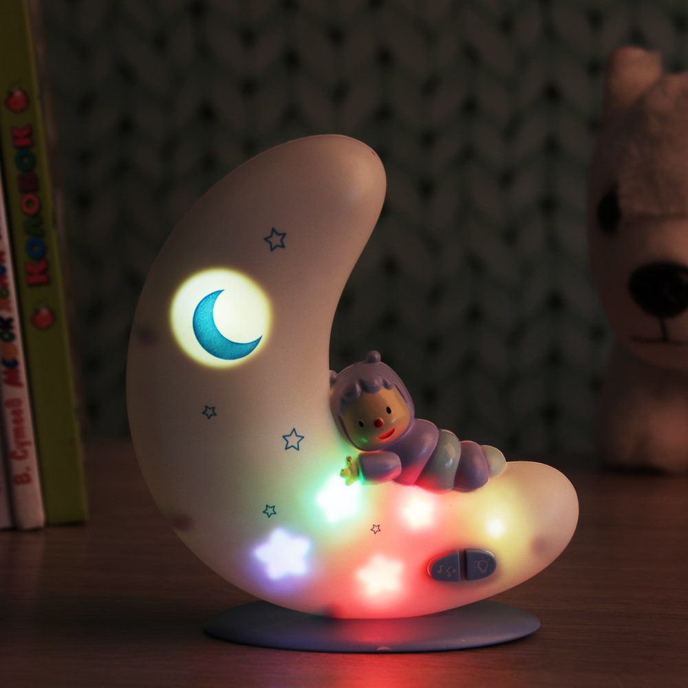 ИГРОЛЕНД Ночник музыкальный, свет, звук, проектор, 2АА, ABS, 14х15х5,8см, 2 цвета