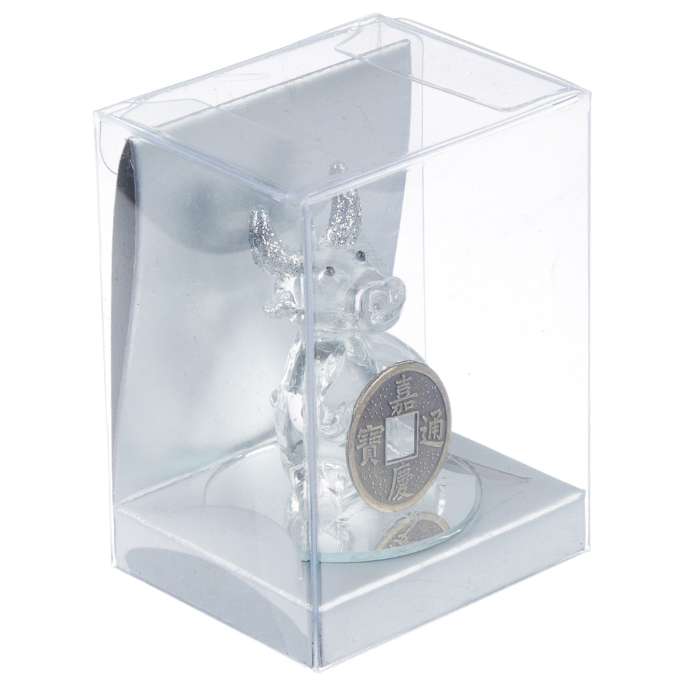 СНОУ БУМ Фигурка Символ Года 2021 с монетой, стекло, 7,8х5,6х4,5см, 4 дизайна