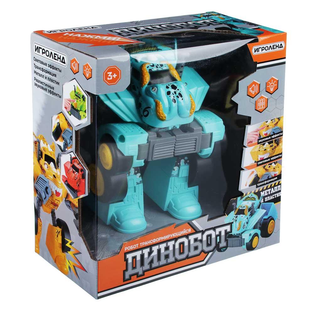 ИГРОЛЕНД Игрушка в виде динобота, металл, ABS, 3хААА, свет, 21х29х10см, 8 дизайнов