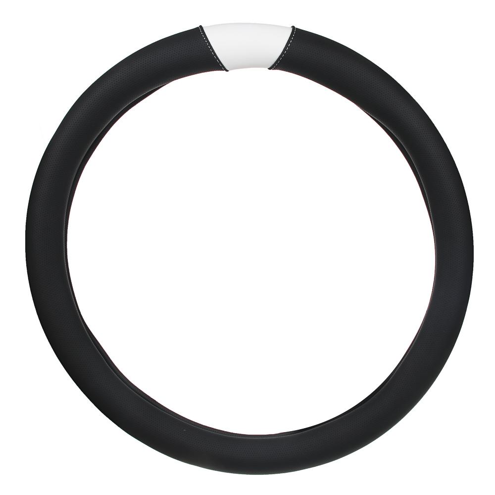 NEW GALAXY Оплетка руля, экокожа, черный, белая вставка, размер М