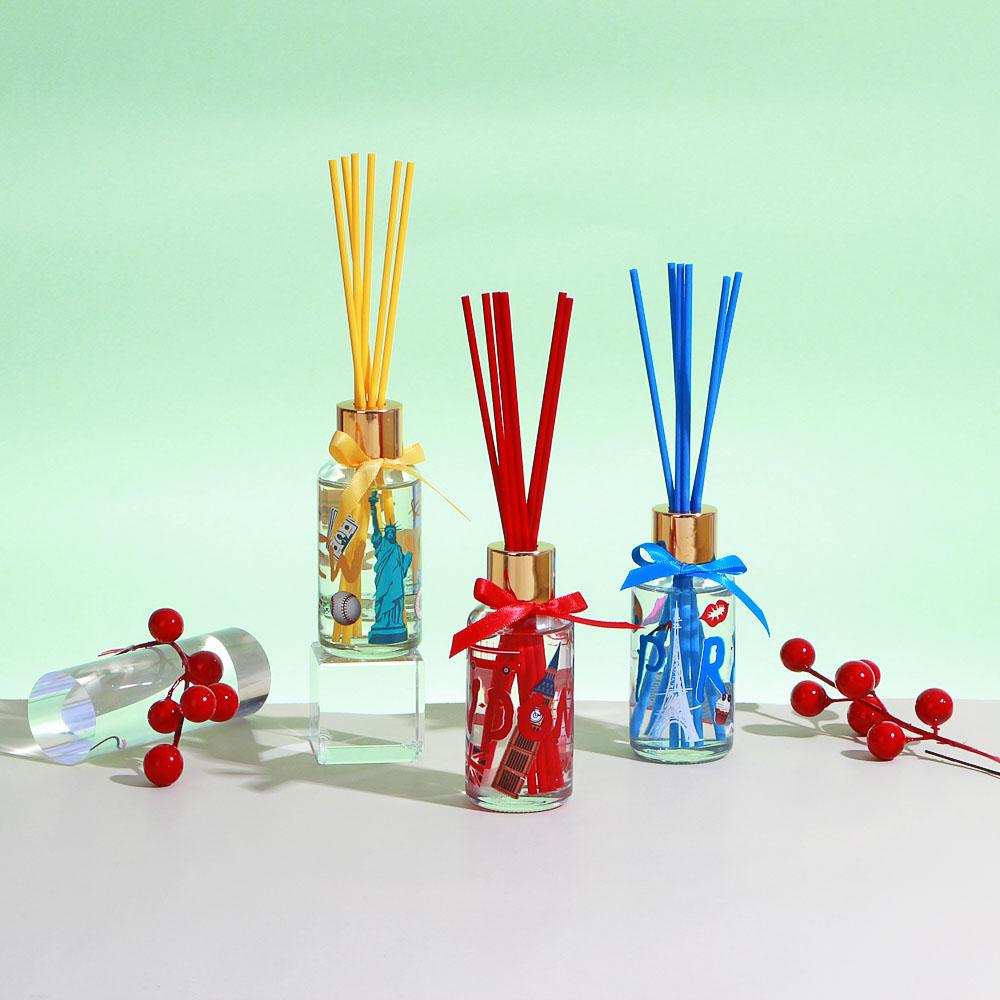 LADECOR Аромадиффузор с цветными палочками, Путешествия, 50 мл Свежесть хлопка/Гардения/Имбирный чай
