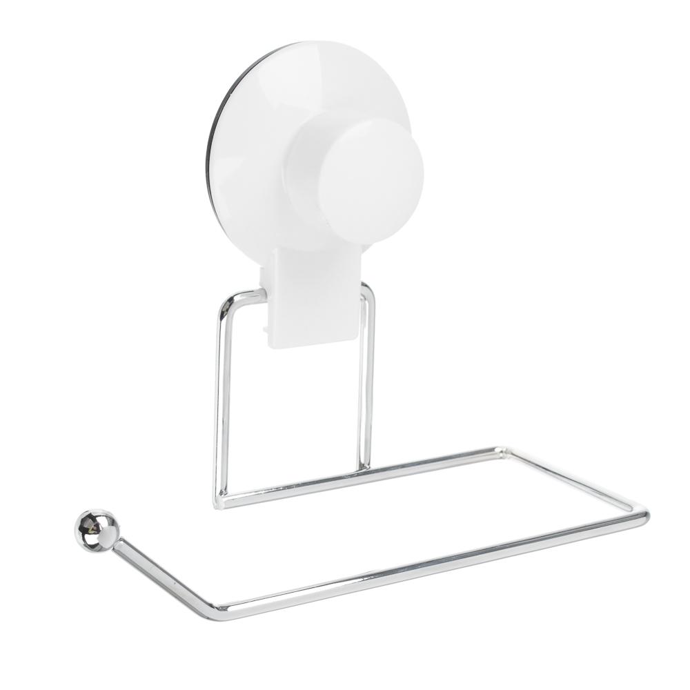 VETTA Держатель для туалетной бумаги, металл, хром+белый, вакуумное крепление