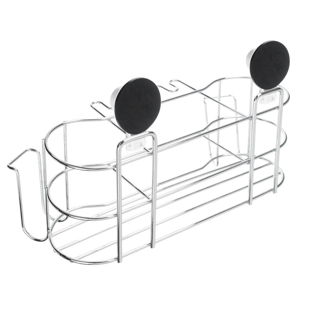 VETTA Держатель для стаканов и зубных щёток, металл, хром+белый, вакуумное крепление