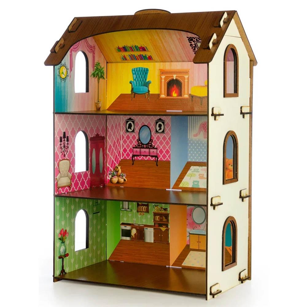ТЕРЕМОК Дом для кукол с обоями, без мебели, 64 дет., фанера, 29,5х20х44,5см