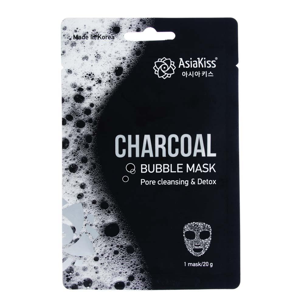 Маска для лица Черная пузырьковая с вулканическим пеплом, с экстрактом древесного угля, 20г
