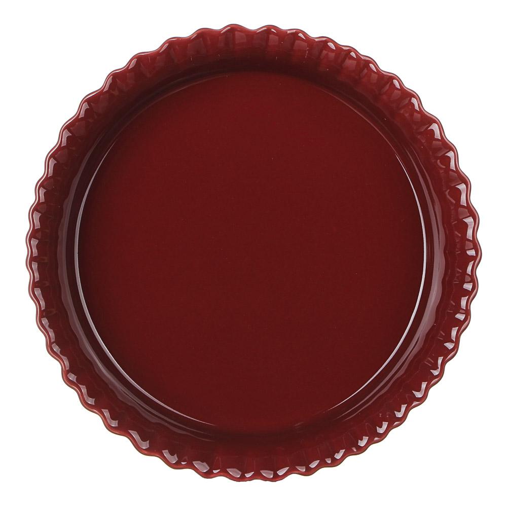 MILLIMI Форма для запекания и сервировки круглая, керамика, 22х4,5см, бордо