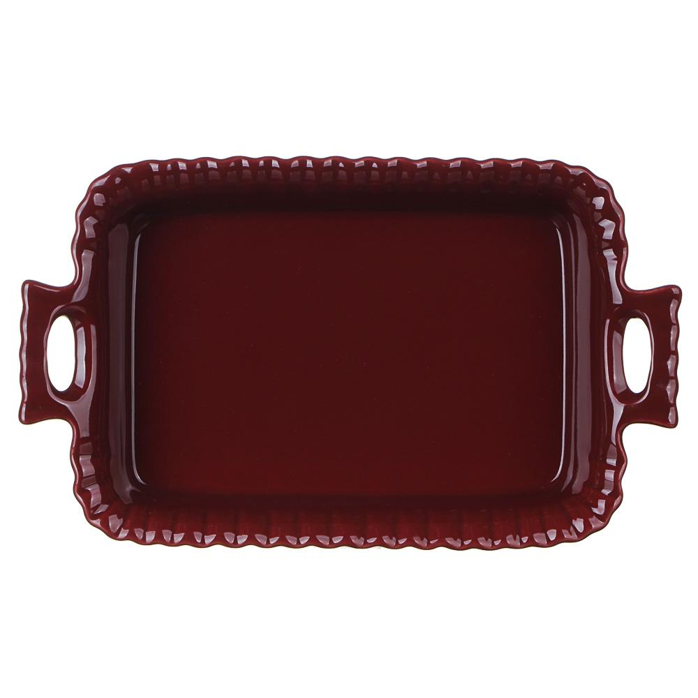 MILLIMI Форма для запекания и сервировки прямоугольная с ручками, керамика, 28х16,5х5см, бордо