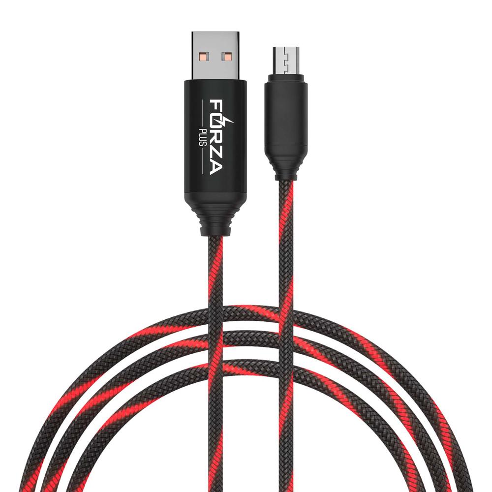 FORZA Кабель для зарядки армированный, Micro-USB, быстрая зарядка QC3.0, светящийся, 2.4А, пластик